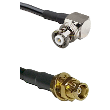 MHV Right Angle Male on RG142 to MCX Female Bulkhead Cable Assembly