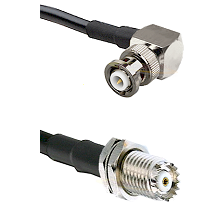 MHV Right Angle Male on RG142 to Mini-UHF Female Cable Assembly