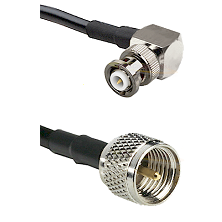 MHV Right Angle Male on RG142 to Mini-UHF Male Cable Assembly