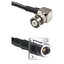MHV Right Angle Male on RG142 to N 4 Hole Female Cable Assembly