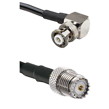 MHV Right Angle Male on RG400 to Mini-UHF Female Cable Assembly