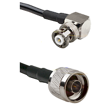 MHV Right Angle Male on RG400 to N Male Cable Assembly