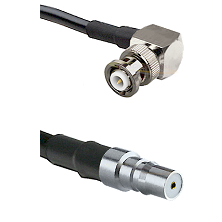 MHV Right Angle Male on RG400 to QMA Female Cable Assembly