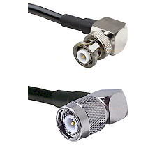 MHV Right Angle Male on RG58C/U to TNC Right Angle Male Cable Assembly