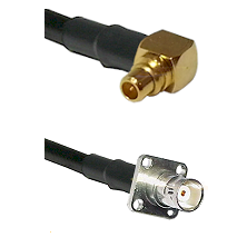MMCX Right Angle Male on LMR100 to BNC 4 Hole Female Cable Assembly