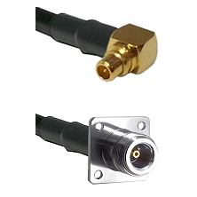MMCX Right Angle Male on LMR100 to N 4 Hole Female Cable Assembly