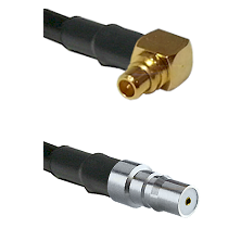MMCX Right Angle Male on LMR100 to QMA Female Cable Assembly