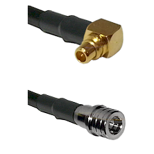 MMCX Right Angle Male on LMR100 to QMA Male Cable Assembly