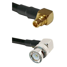 MMCX Right Angle Male on LMR100 to BNC Right Angle Male Cable Assembly