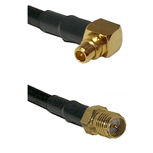 MMCX Right Angle Male on LMR100 to SMA Reverse Polarity Female Cable Assembly