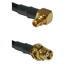 MMCX Right Angle Male on RG188 to MCX Female Bulkhead Cable Assembly