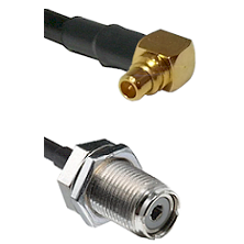 Right Angle MMCX Male To UHF Female Bulk Head Connectors RG188 Cable Assembly