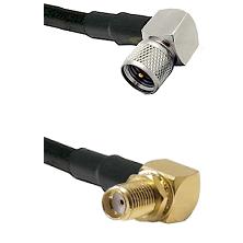 Mini-UHF Right Angle Male on Belden 83242 RG142 to SMA Reverse Thread Right Angle Female Bulkhead Co