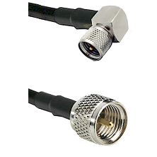 Mini-UHF Right Angle Male on LMR100 to Mini-UHF Male Cable Assembly