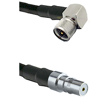 Mini-UHF Right Angle Male on LMR100 to QMA Female Cable Assembly