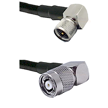 Mini-UHF Right Angle Male on LMR100 to TNC Reverse Polarity Right Angle Male Cable Assembly