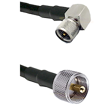 Mini-UHF Right Angle Male on LMR-195-UF UltraFlex to UHF Male Cable Assembly