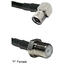 Mini-UHF Right Angle Male Connector On LMR-240UF UltraFlex To F Female Connector Coaxial Cable Assem