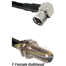 Mini-UHF Right Angle Male Connector On LMR-240UF UltraFlex To F Female Bulkhead Connector Coaxial Ca