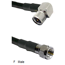 Mini-UHF Right Angle Male Connector On LMR-240UF UltraFlex To F Male Connector Coaxial Cable Assembl