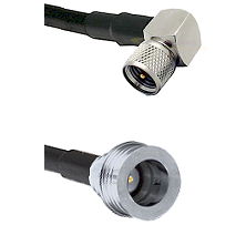 Mini-UHF Right Angle Male Connector On LMR-240UF UltraFlex To QN Male Connector Coaxial Cable Assemb