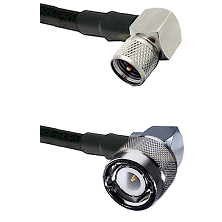 Mini-UHF Right Angle Male Connector On LMR-240UF UltraFlex To C Right Angle Male Connector Coaxial C