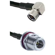 Mini-UHF Right Angle Male on LMR240 Ultra Flex to N Reverse Polarity Female Bulkhead Coaxial Cable A