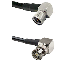 Mini-UHF Right Angle Male on LMR240 Ultra Flex to BNC Reverse Polarity Right Angle Male Coaxial Cabl