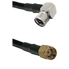 Mini-UHF Right Angle Male on LMR240 Ultra Flex to SMA Reverse Polarity Male Cable Assembly