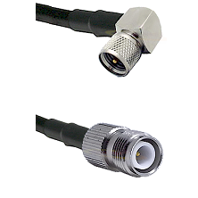 Mini-UHF Right Angle Male on LMR240 Ultra Flex to TNC Reverse Polarity Female Cable Assembly