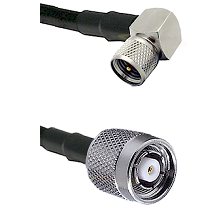 Mini-UHF Right Angle Male on LMR240 Ultra Flex to TNC Reverse Polarity Male Cable Assembly