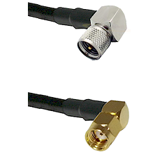 Mini-UHF Right Angle Male Connector On LMR-240UF UltraFlex To SMA Reverse Polarity Right Angle Male