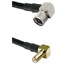 Mini-UHF Right Angle Male on LMR240 Ultra Flex to SLB Right Angle Male Cable Assembly
