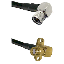 Mini-UHF Right Angle Male on LMR240 Ultra Flex to SMA 2 Hole Right Angle Female Coaxial Cable Assemb