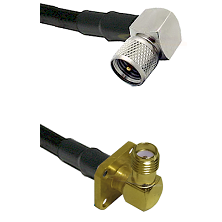 Mini-UHF Right Angle Male on LMR240 Ultra Flex to SMA 4 Hole Right Angle Female Coaxial Cable Assemb