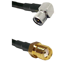 Mini-UHF Right Angle Male Connector On LMR-240UF UltraFlex To SMA Reverse Thread Female Connector Co