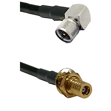 Mini-UHF Right Angle Male on LMR240 Ultra Flex to SLB Female Bulkhead Cable Assembly