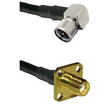 Mini-UHF Right Angle Male Connector On LMR-240UF UltraFlex To SMA 4 Hole Female Connector Coaxial Ca