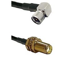 Mini-UHF Right Angle Male on LMR240 Ultra Flex to SMA Female Bulkhead Cable Assembly
