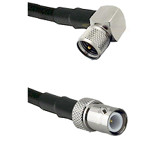 Mini-UHF Right Angle Male on RG58C/U to BNC Reverse Polarity Female Cable Assembly