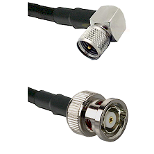 Mini-UHF Right Angle Male on RG58C/U to BNC Reverse Polarity Male Cable Assembly