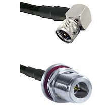 Mini-UHF Right Angle Male on RG58C/U to N Reverse Polarity Female Bulkhead Cable Assembly