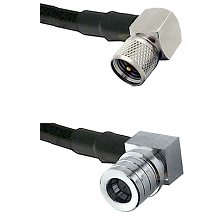 Mini-UHF Right Angle Male on RG58C/U to QMA Right Angle Male Cable Assembly