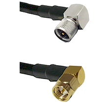 Mini-UHF Right Angle Male on RG58C/U to SMA Right Angle Male Cable Assembly
