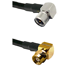 Mini-UHF Right Angle Male on RG58C/U to SMC Right Angle Female Cable Assembly