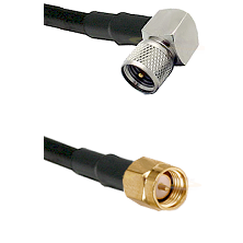 Mini-UHF Right Angle Male on RG58C/U to SMA Reverse Thread Male Cable Assembly