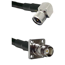 Mini-UHF Right Angle Male on RG58C/U to TNC 4 Hole Female Cable Assembly