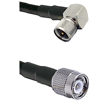 Mini-UHF Right Angle Male on RG58C/U to TNC Male Cable Assembly