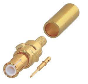 RMX-8000-1B-LCK RF Industries MCX, MALE STRAIGHT CRIMP PLUG W/ SPECIAL LOCKING SHELL, Gold,Gold,T; F