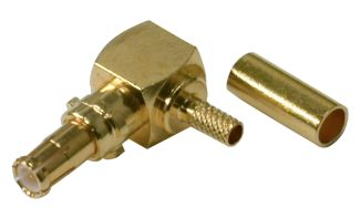 RMX-8010-1B-LCK RF Industries MCX, MALE RIGHT-ANGLE CRIMP PLUG W/ SPECIAL LOCKING SHELL, Gold,Gold,T